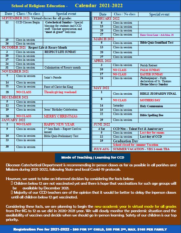 CCD Calendar 2021-22